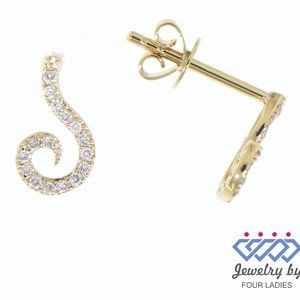 Solid Diamond S Shaped Stud Earrings Yellow Gold